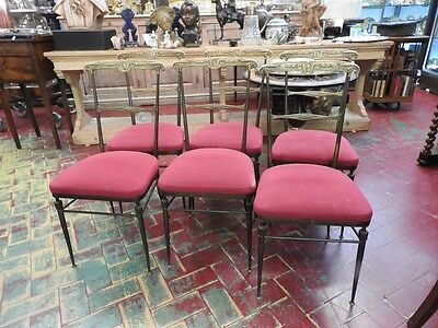 Group Of 6 Chairs In Metal Golden Seats Red Burgundy Beginning 20Th Century