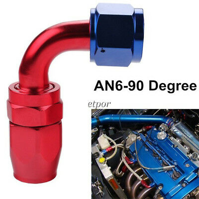 Fitting Adapter 6AN AN6 90 Degree Swivel Oil/Fuel Line Hose End Adaptor/Fitting