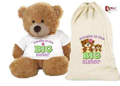 PERSONALISED TEDDY BEAR & GIFT BAG 'BIG SISTER'- ANY NAME-Cute Design