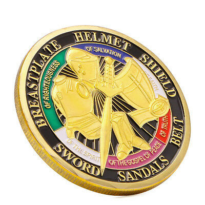 Gold Plated Put on the Whole Armor of God Commemorative Challenge Coin Token UK
