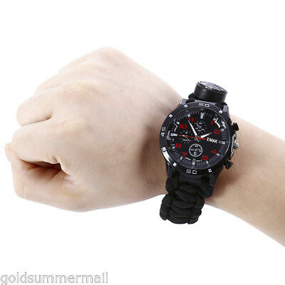 EMAK Outdoor Survival Watch Bracelet Compass Whistle Thermometer Gear Bangle
