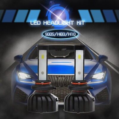 Pair 9005 HB3 H10 LED Headlight KIT Bulbs 100W 16000LM CSP White Light HID 6000K