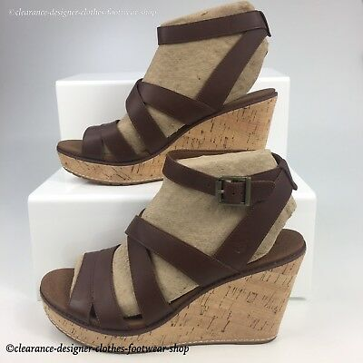 6aa23a9ac5d Timberland Danforth Cork Womens Ankle Strap Heel Wedge Sandals Shoes Rrp  £100