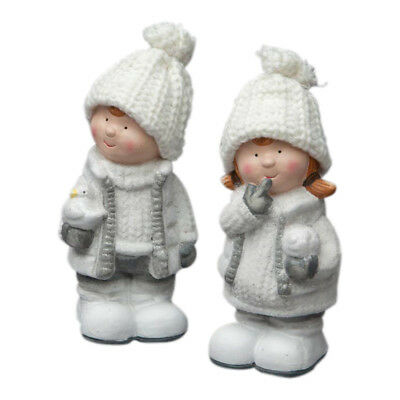 Set x 2 Ceramic Boy & Girl Christmas Children Ornaments  Figurines Figures White