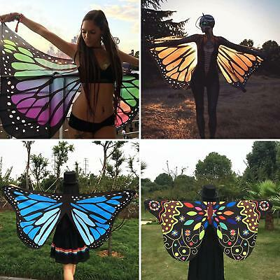 Colorful Soft Fabric Butterfly Wings Tippet Stole Scarf Lady Costume Novelty