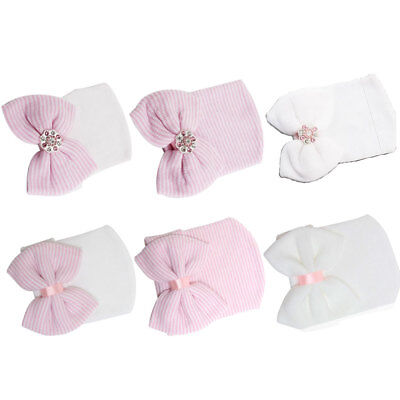 Baby Girls Infant Striped Soft Hat with Bow Cap Hospital Newborn Beanie Diomand