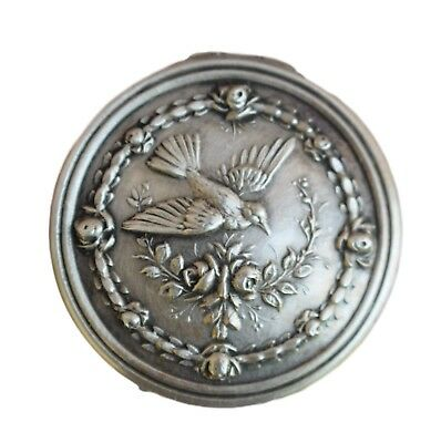 Antique French Sterling Silver and Gold Bird Pill Box Snuff Box