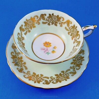 Light Green & Gold with Yellow Daisy Center Paragon Tea Cup and Saucer Set