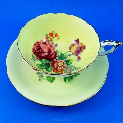 Pretty Floral Bouquet on Light Yellow Paragon Tea Cup and Saucer Set