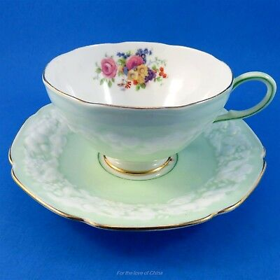 Old Embossed Light Green & Floral Paragon Tea Cup and Saucer Set