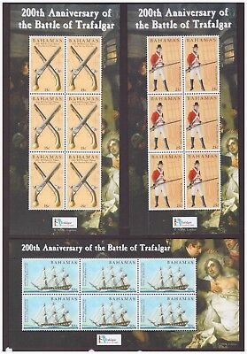Bahamas MNH 2005 Battle of Trafalgar Military, ships set 6 sheets mint