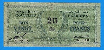 1943 WWII New Hebrides Services Nationaux Francais 20 Francs Note XF+ P-2 French