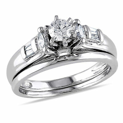 Amour 1/2 CT TW Diamond 6-Prong Floral Bridal Set in 14k White Gold
