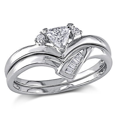 Amour 1/3 CT TW Fancy Cut Diamond Bridal Set in 14k White Gold
