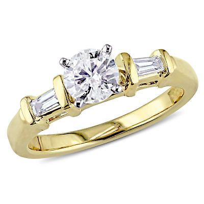 Amour 5/8 CT TW Diamond Bar Set Engagement Ring in 14k Yellow Gold