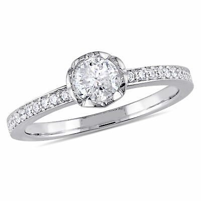 Amour 5/8 CT TW Diamond Floral Engagement Ring in 14k White Gold