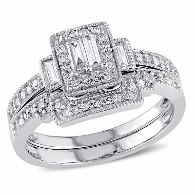 Amour 2/5 CT TW Diamond Square Bridal Set in 10k White Gold