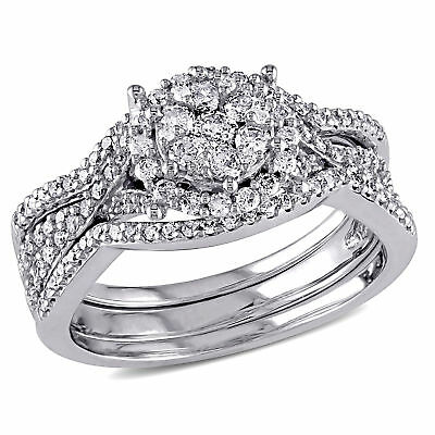 Amour 3/4 CT TW Diamond Cluster Multi-Row Bridal Set in 10k White Gold