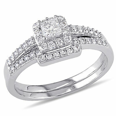 Amour 5/8 CT TW  and Round Diamond Halo Bridal Set in 10k White Gold