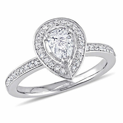 Amour 5/8 CT TW Pear and Round Diamond Halo Ring in 14k White Gold