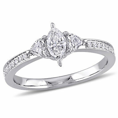 Amour 5/8 CT TW 3-Stone Diamond Engagement Ring in 14k White Gold