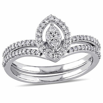 Amour 1/3 CT TW Diamond Cluster Bridal Set in 10k White Gold