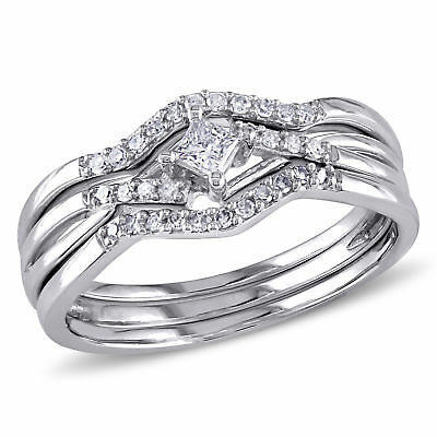 Amour 1/4 CT TW Diamond Crossover Bridal Set in 10k White Gold