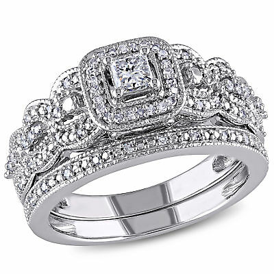 Amour 1/2 CT TW  Braided Diamond Bridal Set in 14k White Gold