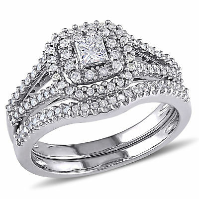 Amour  and Round Diamond Halo Bridal Set in 14k White Gold