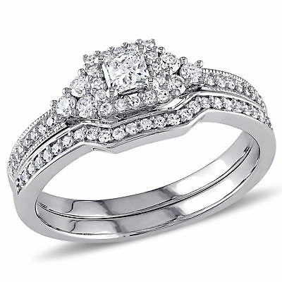 Amour 5/8 CT TW  and Round Diamond Beaded Bridal Set in 14k White Gold