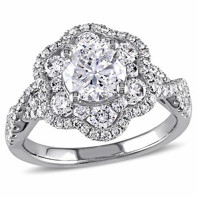 Amour 1 7/8 CT TW Diamond Flower Engagement Ring in 14k White Gold