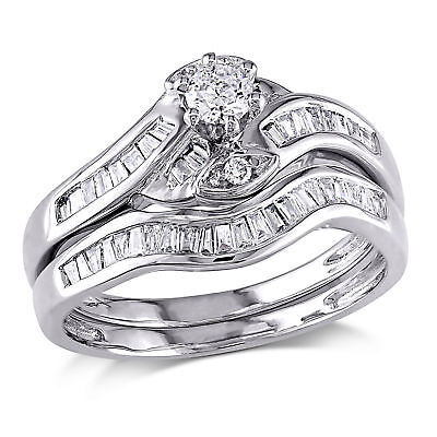 Amour 1/2 CT TW Diamond Crossover Bridal Set in 14k White Gold