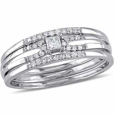 Amour 1/4 CT TW-Cut Diamond 3-Piece Bridal Set in 10k White Gold
