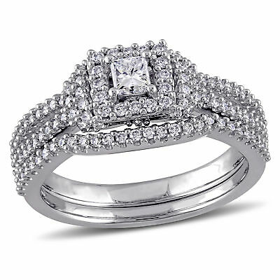 Amour 3/4 CT TW Cut Halo Diamond Bridal Set in 14k White Gold