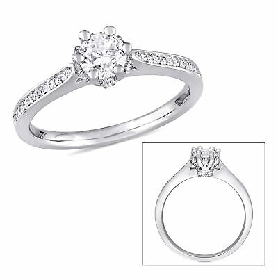 Amour 5/8 CT TW Diamond Vintage Engagement Ring in 14k White Gold