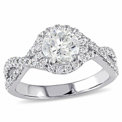 Amour 1 3/8 CT TW Diamond Infinity Engagement Ring in 14k White Gold