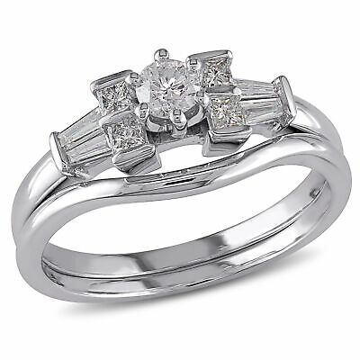Amour 1/2 CT TW Diamond Floral Bridal Set in 10k White Gold