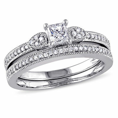 Amour 1/2 CT TW Diamond Cluster Bridal Set in 10k White Gold