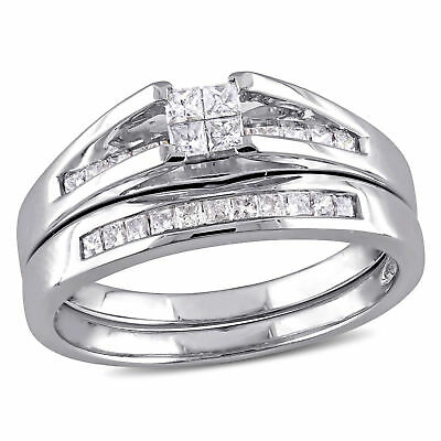 Amour 1/2 CT TW  Diamond Channel Set Bridal Set in 10k White Gold
