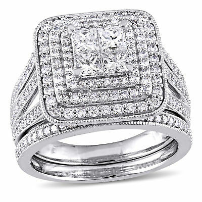 Amour 1 1/2 CT TW Diamond Halo Bridal Ring Set in 14k White Gold