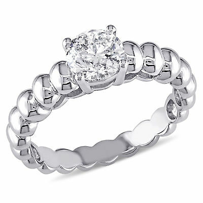 Amour 7/8 CT TW Diamond Solitaire Engagement Ring in 14k White Gold