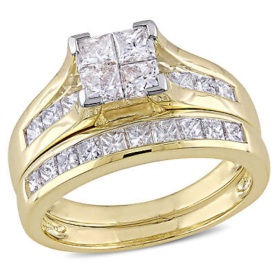 Amour 2 CT TW Channel Set  Diamond Bridal Set in 14k Yellow Gold