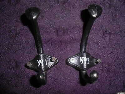 Vintage Cast Iron Double Coat Hooks Numbered Pair