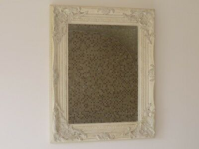 Stunning Shabby Chic French Style Mirror Bevelled Glass White/ Gold Frame (1683)
