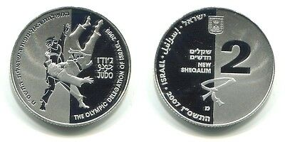 "2 New Sheqalim Israel 2007 Proof Silber ""Olympiade - Judo"""