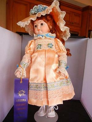 """Award Winning Reproduction 17""""  """"Pouty"""" Jointed Doll  Red Hair Peach Dress"""
