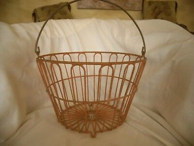 Vintage Red  Metal Wire Egg Gathering Basket from an IOWA Farm