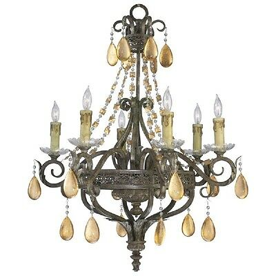 Dorato Wrought Iron Chandelier Gold Leaf Crystals 6 Light ~ 01023 Cyan Design