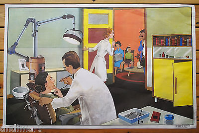 French Double Sided Classroom Poster 1960s/1970s Dentist/Post Office 100 x 65cms