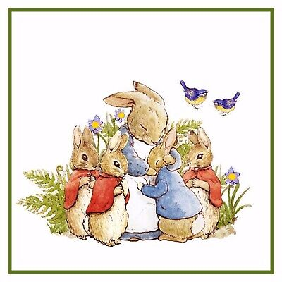 Peter Rabbit's Family in The Garden Beatrix Potter Counted Cross Stitch Pattern